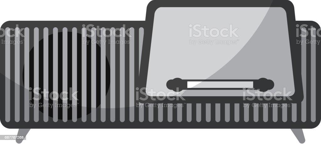 isolated retro radio icon vector art illustration