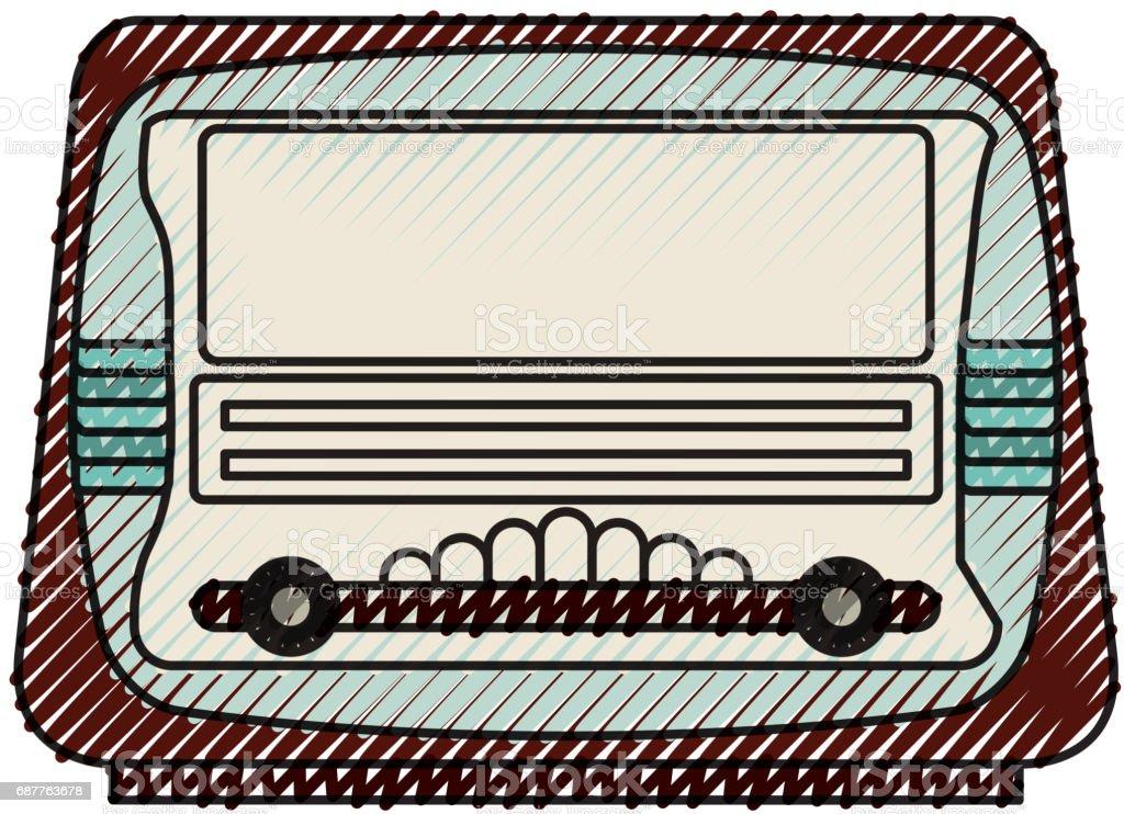 isolated retro radio vector art illustration