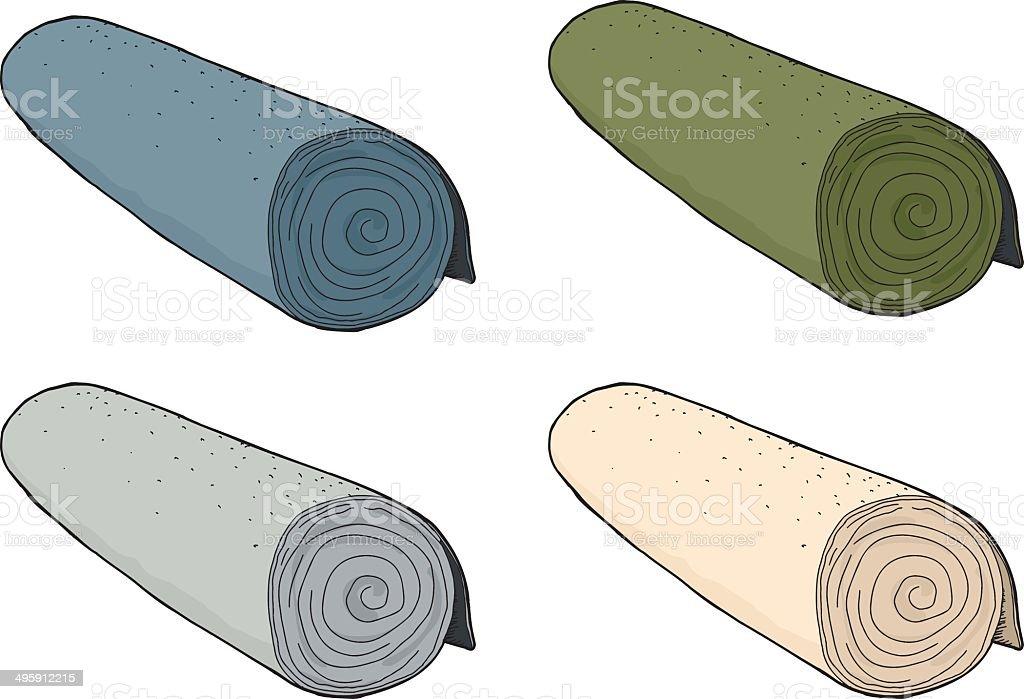 Isolated Rolls of Carpet vector art illustration