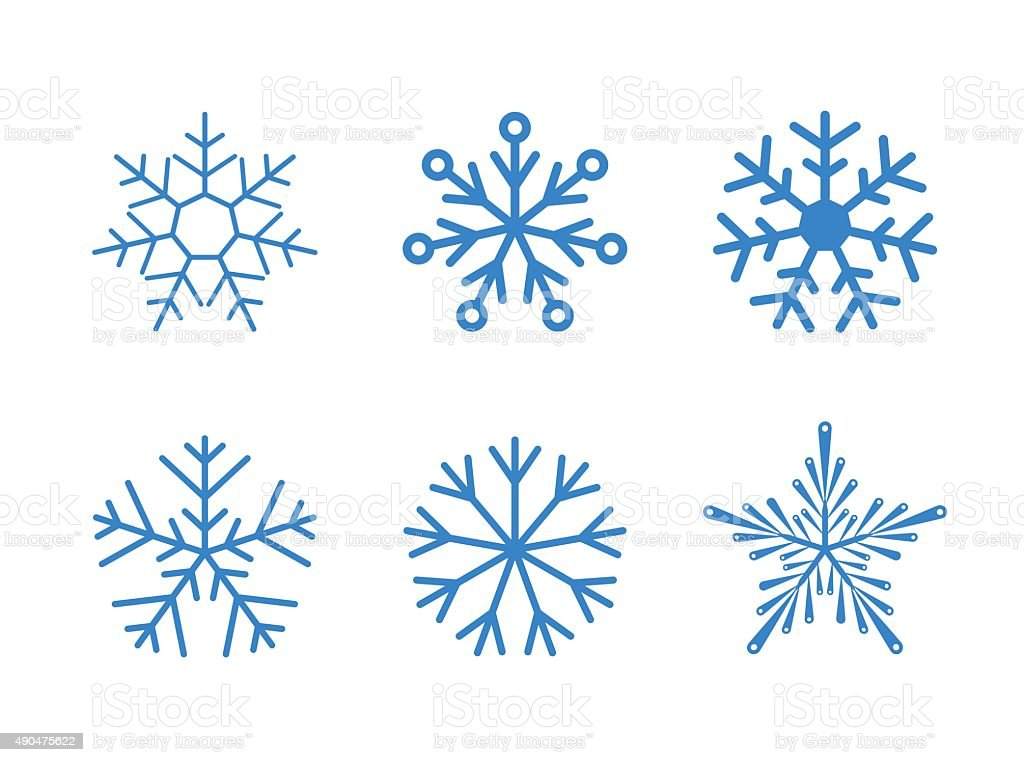 Isolated set of vector snowflakes on white background vector art illustration