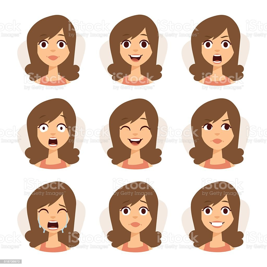 Isolated set of woman avatar expressions face emotions vector illustration vector art illustration