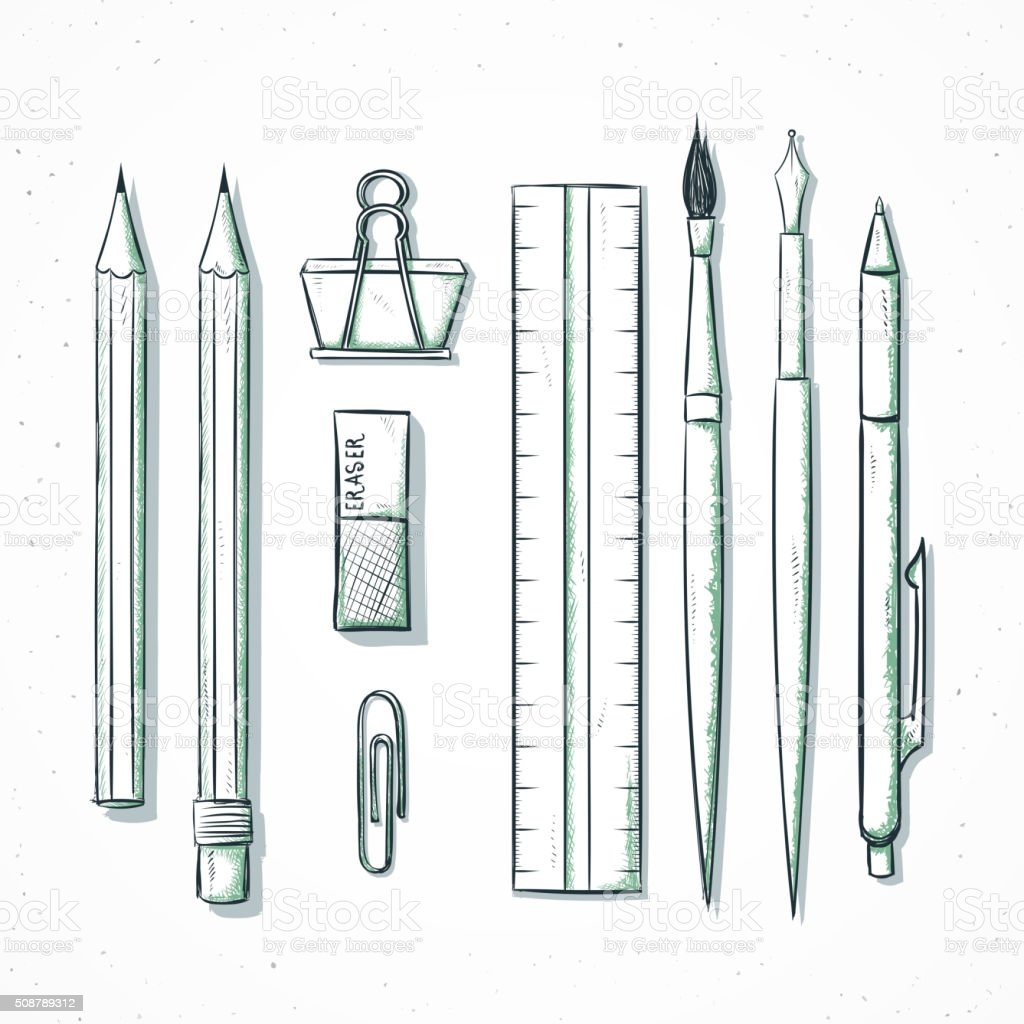 Isolated set stationery handmade in sketch style. Writing items vector art illustration