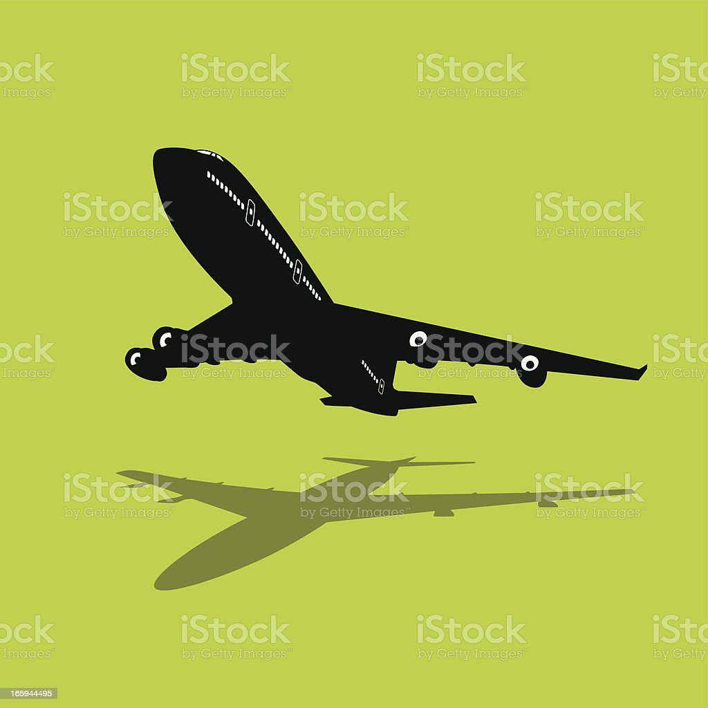 Isolated silhouette of a passenger jet vector art illustration