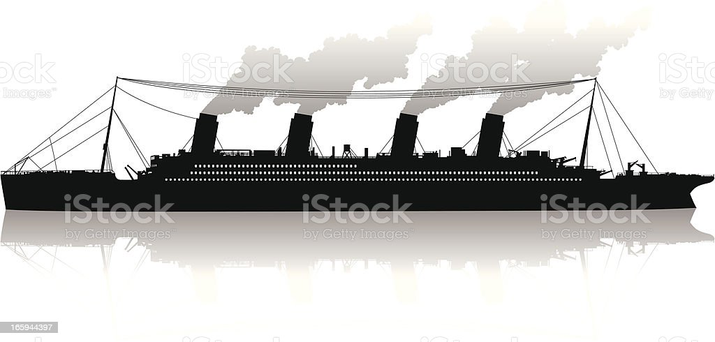 Isolated silhouette of a transatlantic passenger steamship vector art illustration