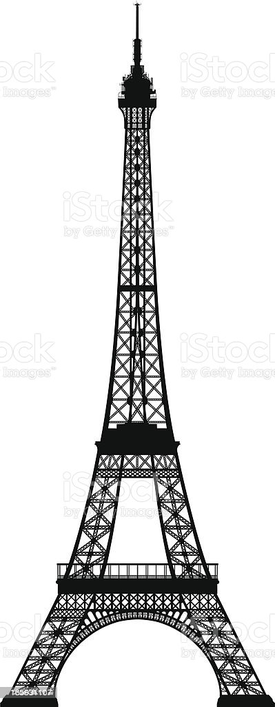 Isolated silhouette of the Eiffel Tower vector art illustration