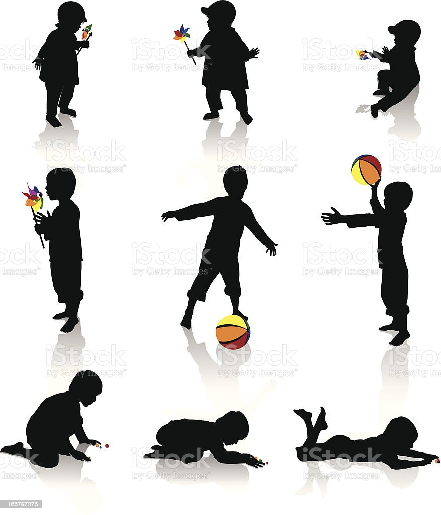 Isolated silhouettes of children playing royalty-free stock vector art