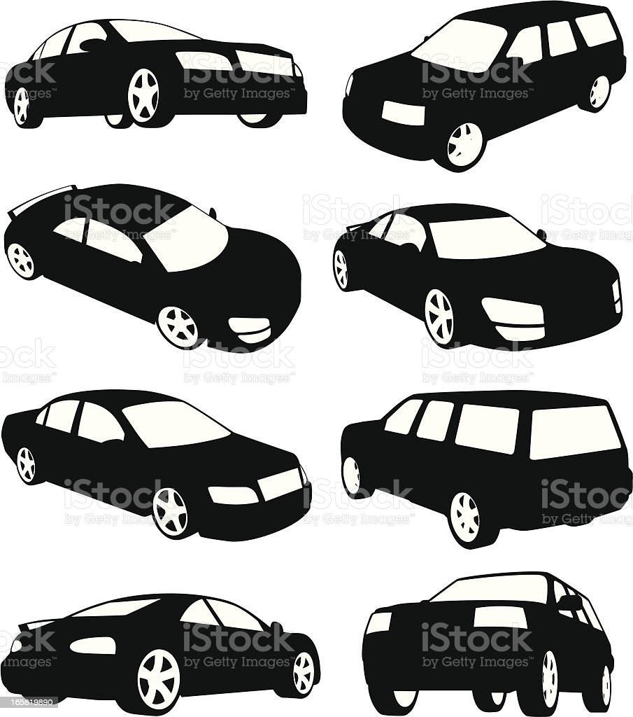 Isolated silhouettes of modern cars vector art illustration