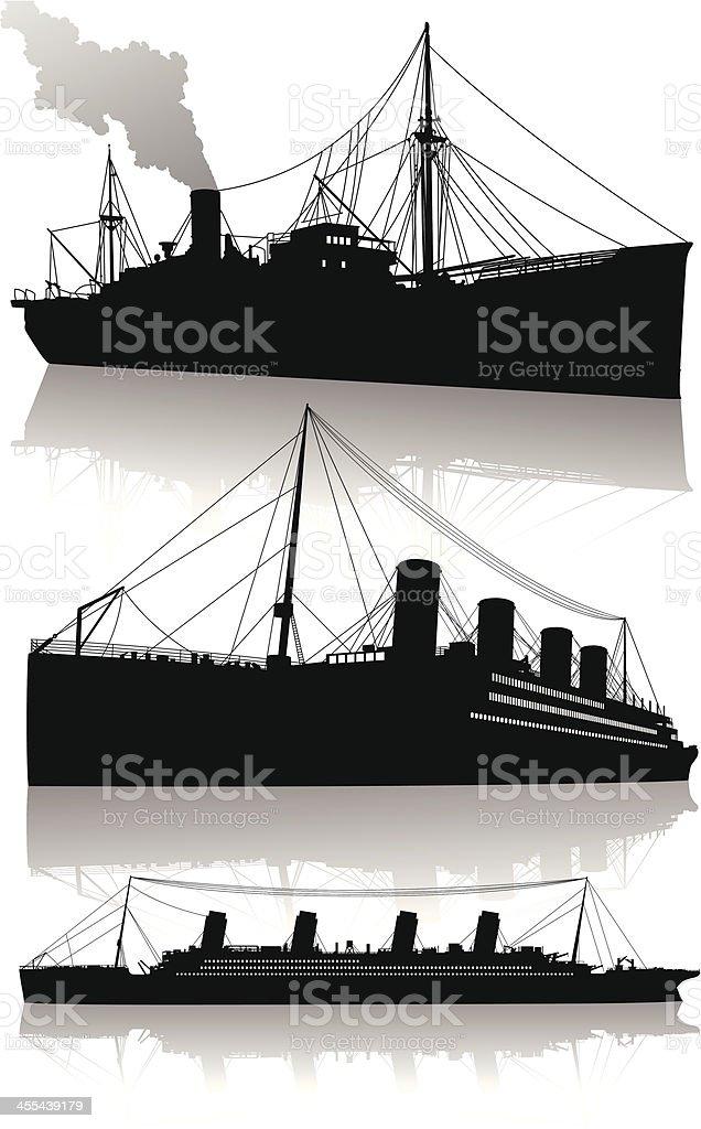 Isolated silhouettes of transatlantic passenger steamships royalty-free stock vector art