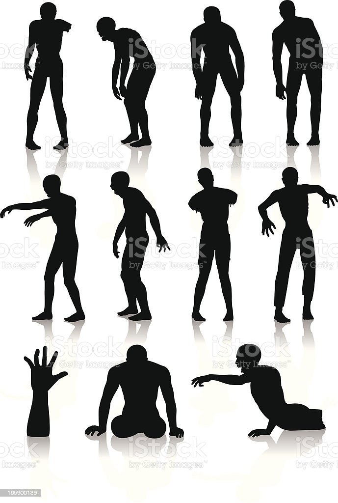Isolated silhouettes of zombies vector art illustration
