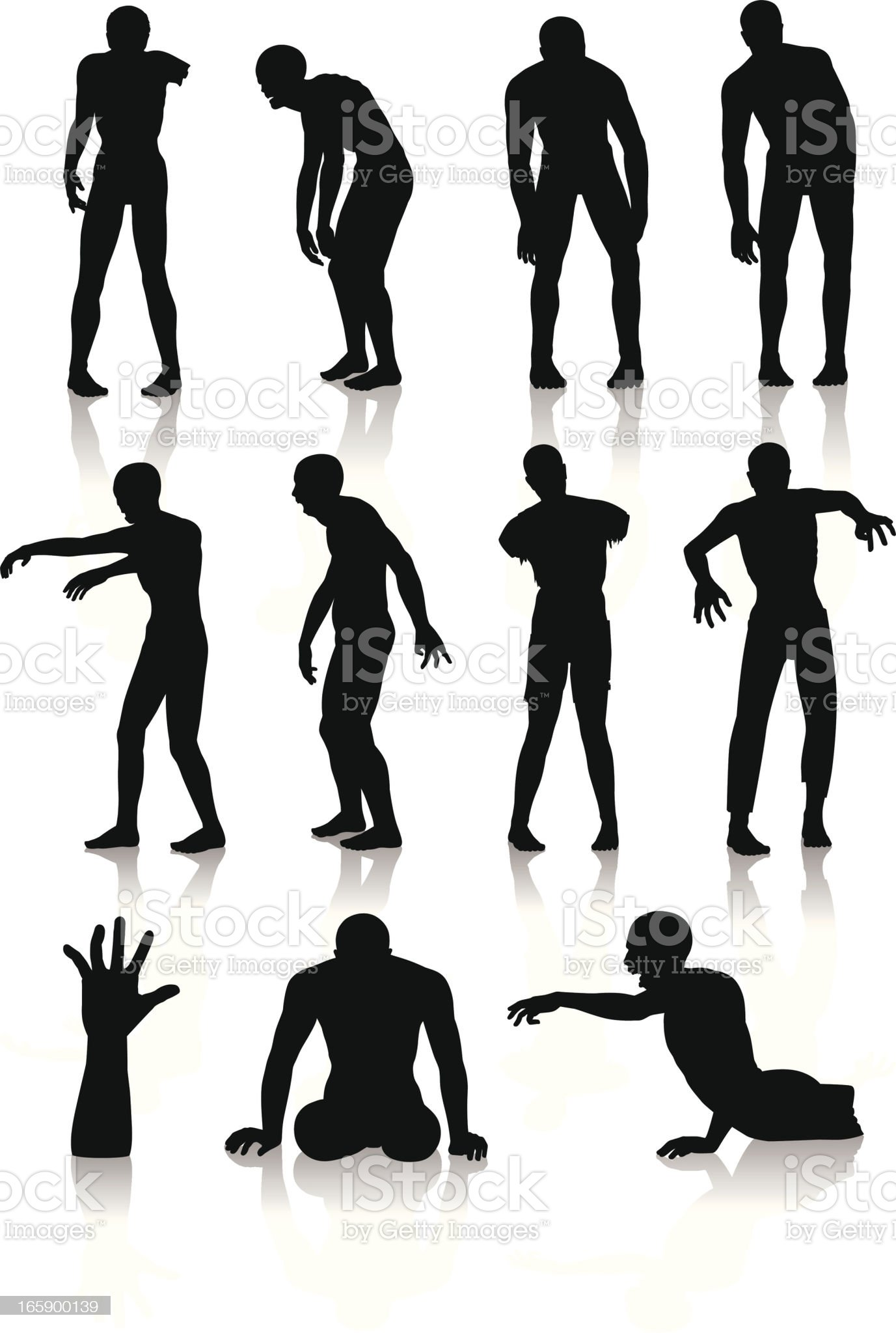 Isolated silhouettes of zombies royalty-free stock vector art
