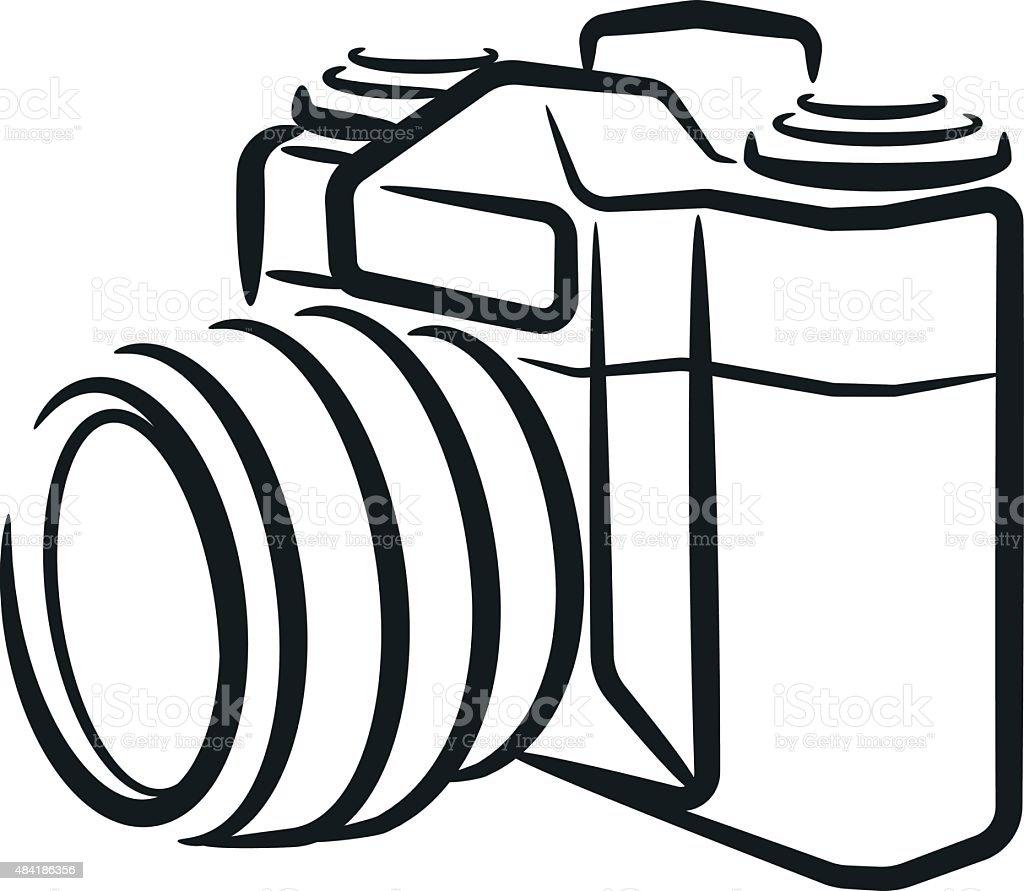 isolated SLR camera vector art illustration