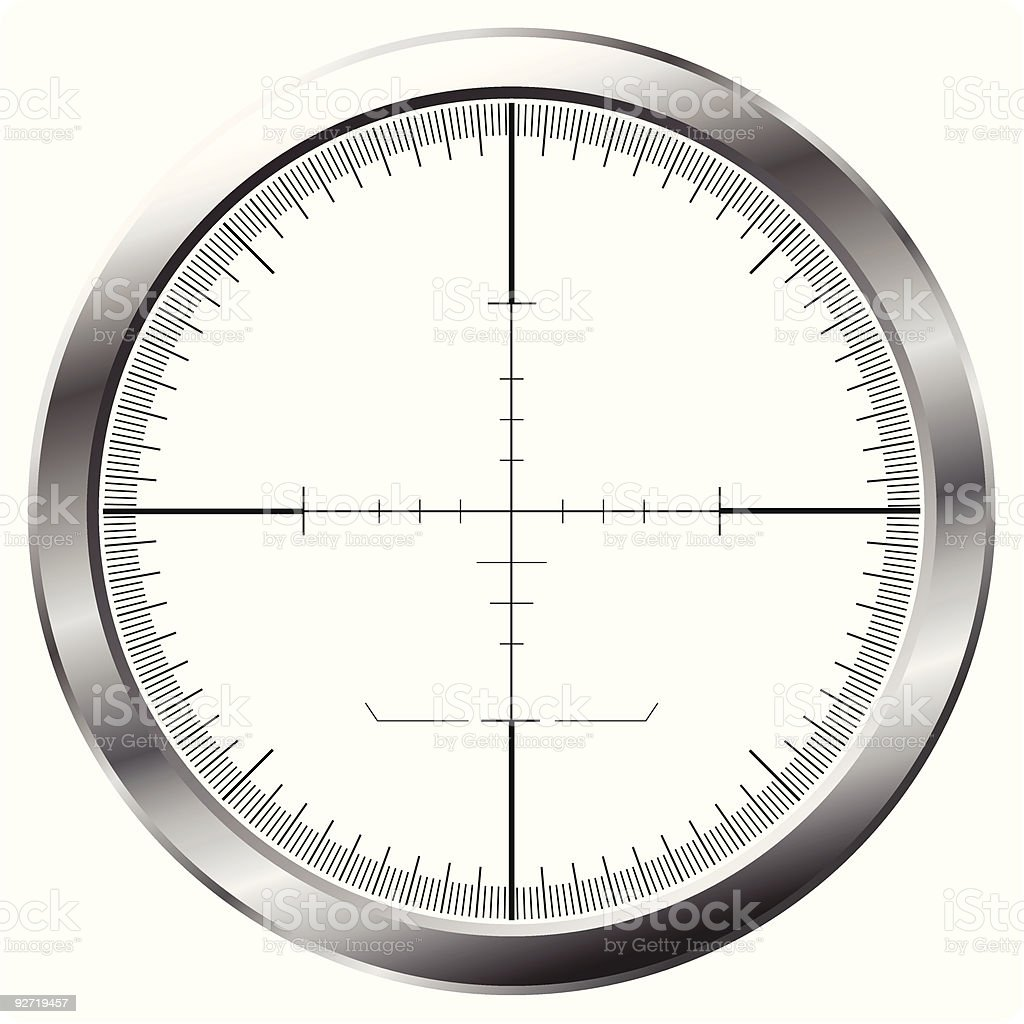 Isolated sniper sight lens in silver with crosshairs royalty-free stock vector art
