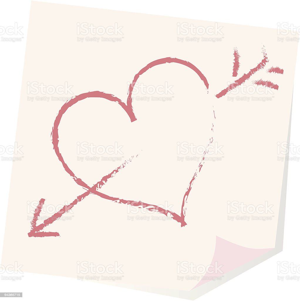 isolated stick note with symbol heart vector art illustration