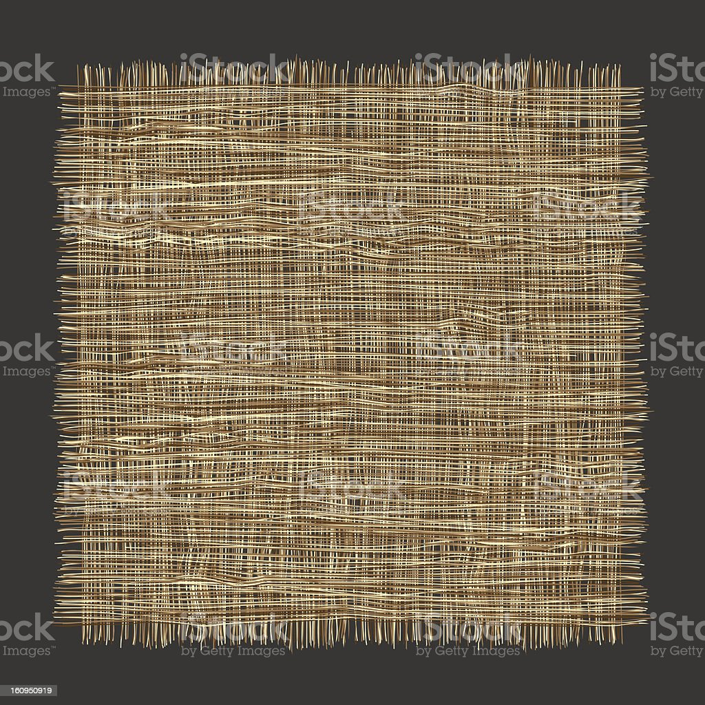 Isolated swatch of rough woven fabric on a dark background royalty-free stock vector art