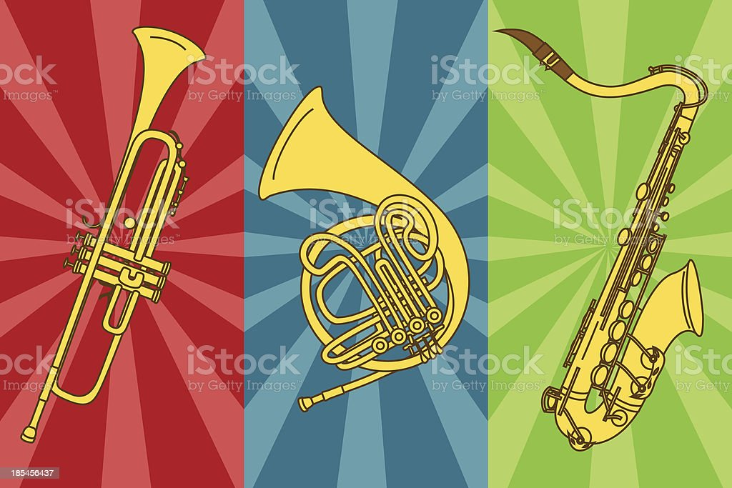 Isolated trumpets and saxophone royalty-free stock vector art