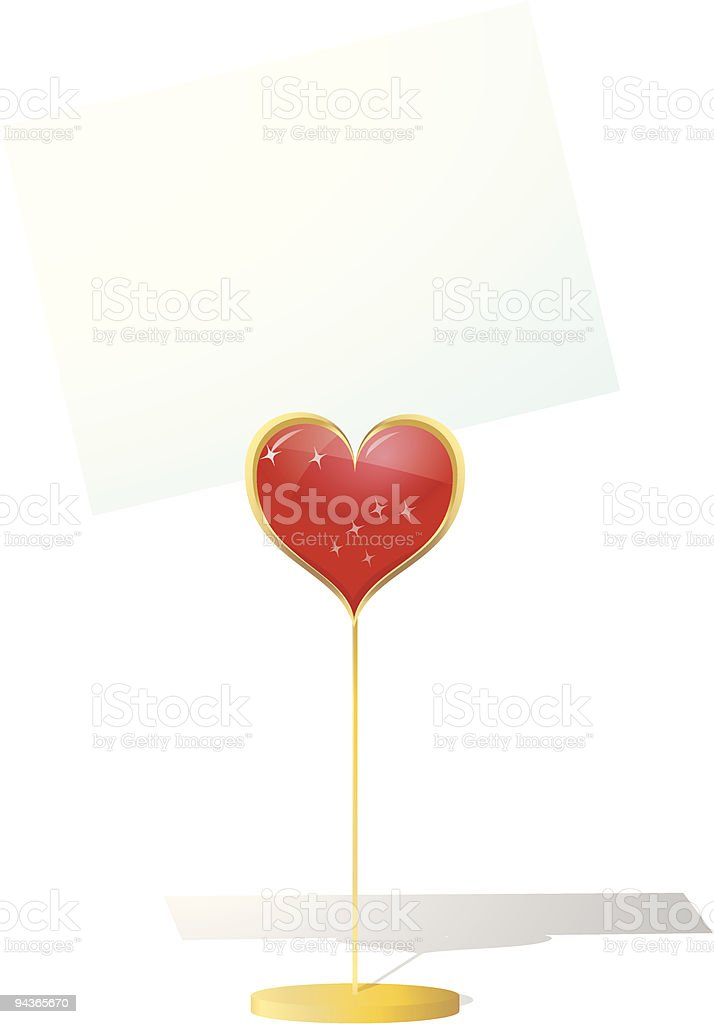 isolated valentine's cardholder with blank card vector art illustration