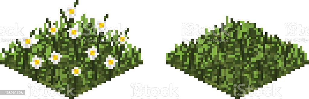 Isolated vector grass tile in pixel art vector art illustration
