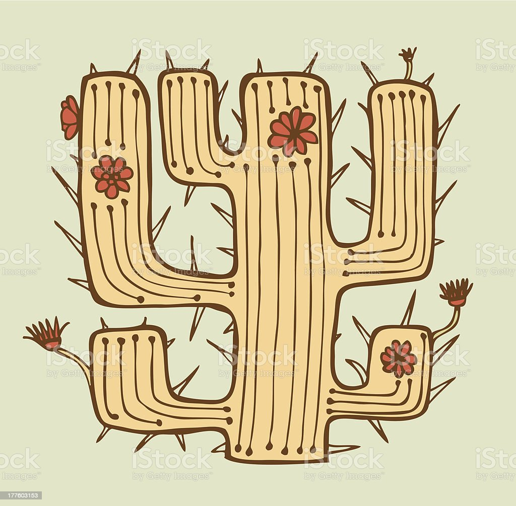 Isolated vector hand drawn cactus with flowers and thorns royalty-free stock vector art