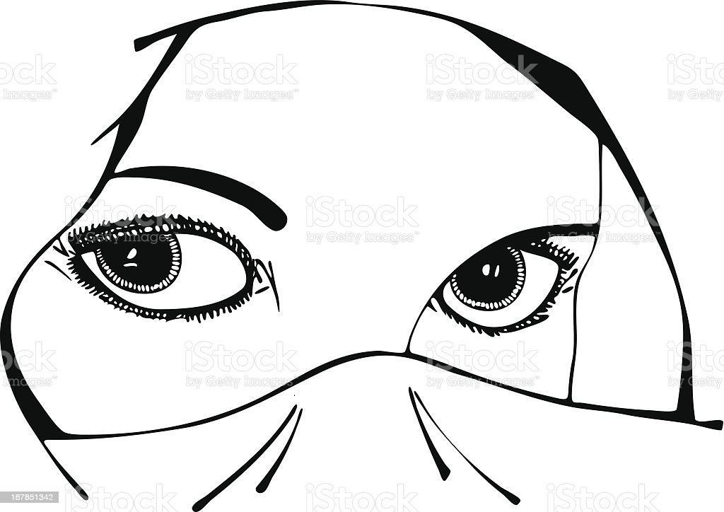 Isolated Vector Illustration of Woman's Eyes Under Veil royalty-free stock vector art