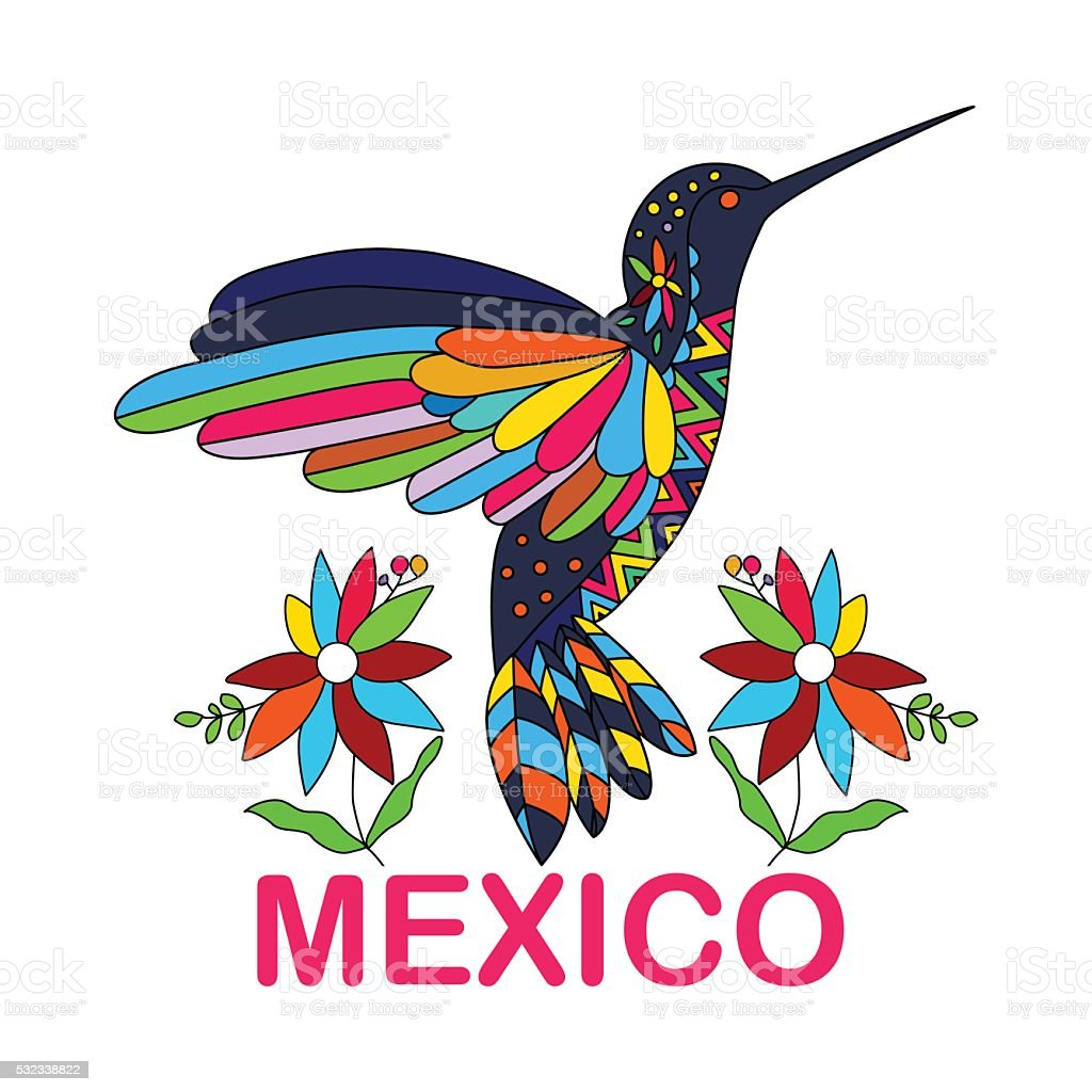 Isolated vector image of Mexican bird. Hummingbirds. Traditional vector art illustration
