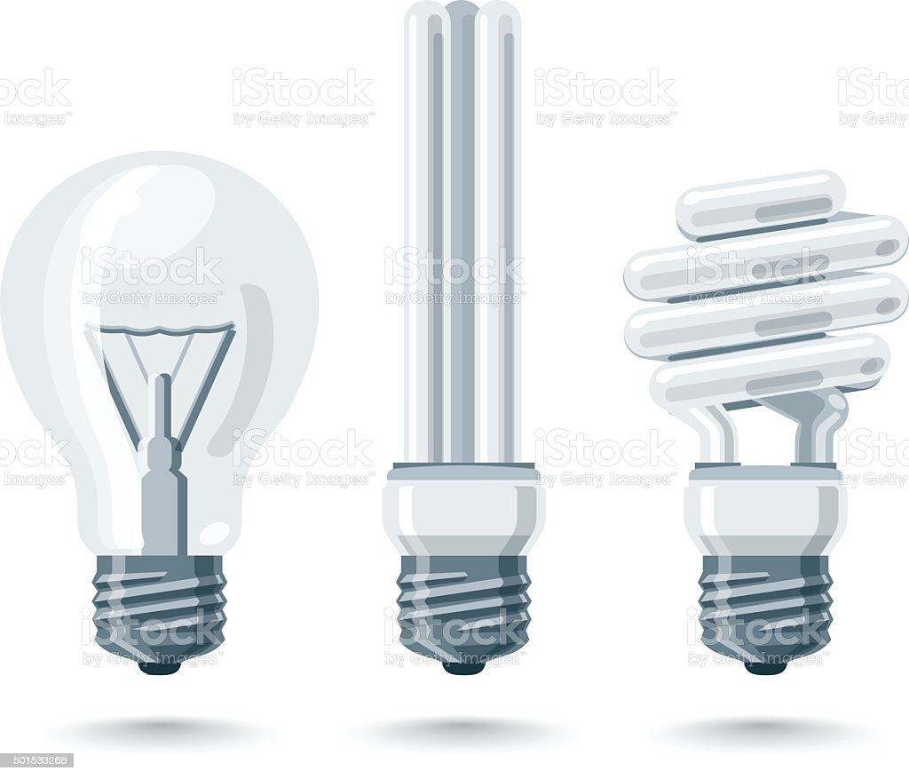 Isolated Vector Light Bulbs vector art illustration