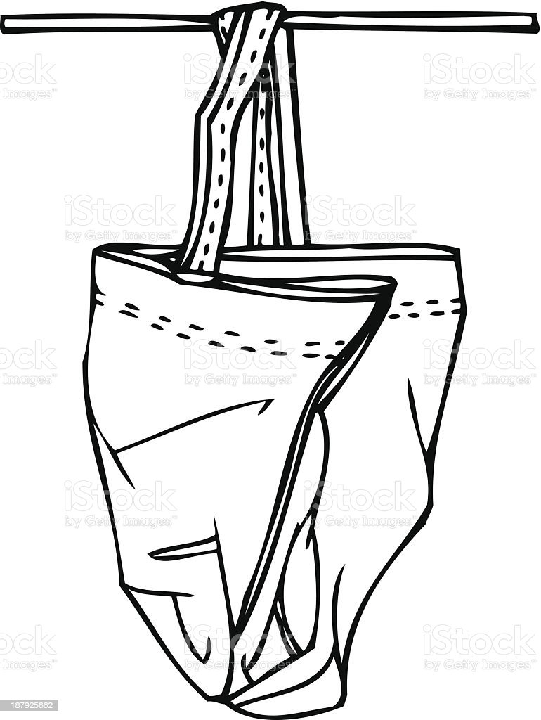 Isolated Vector Sketch of a Hanging Bag royalty-free stock vector art