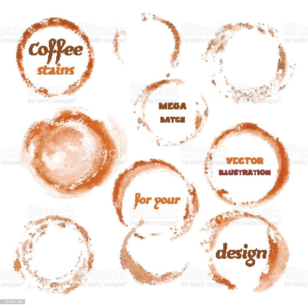 Isolated Watercolor spilled Coffee Vector stains glass mark vector art illustration