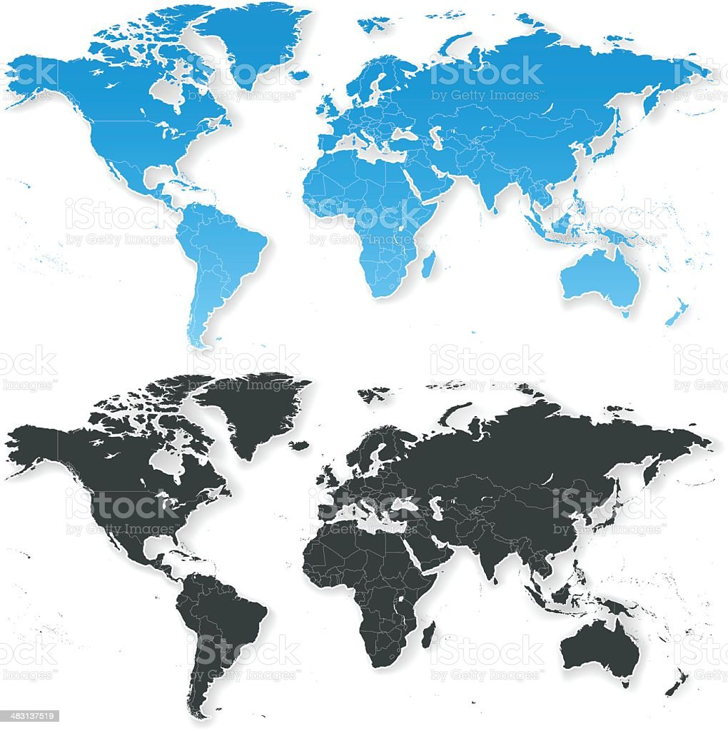 WORLD MAP Isolated with Shadows royalty-free stock vector art