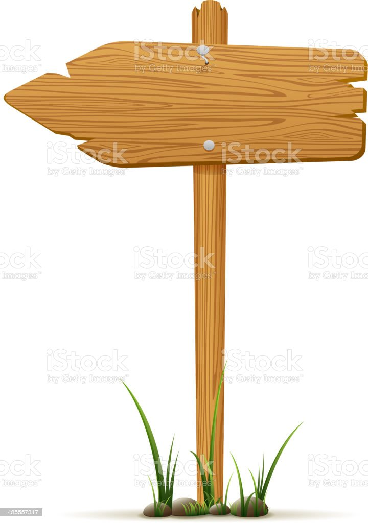 Isolated wooden sign vector art illustration