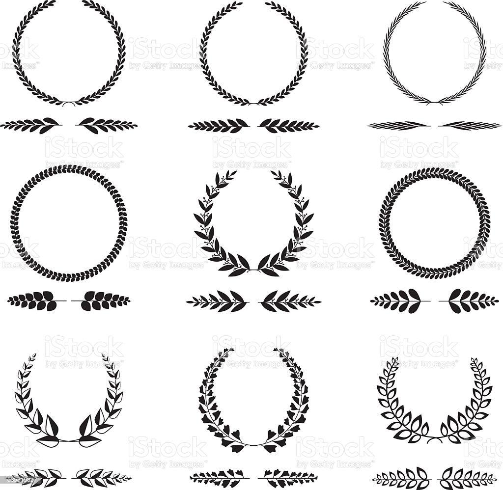 Isolated wreath set vector art illustration