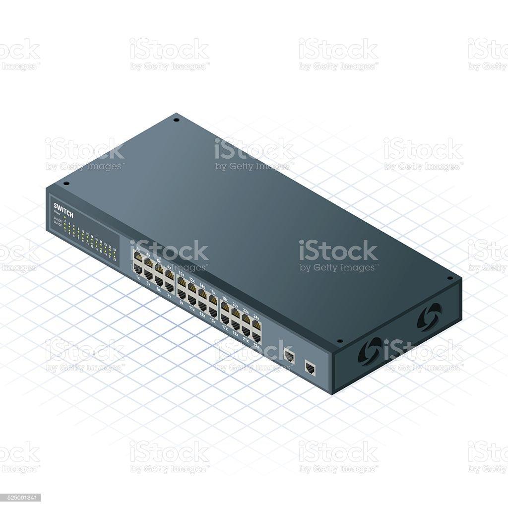 Isometric 24 Ports Switch with 2 Uplink Ports Vector Illustration vector art illustration