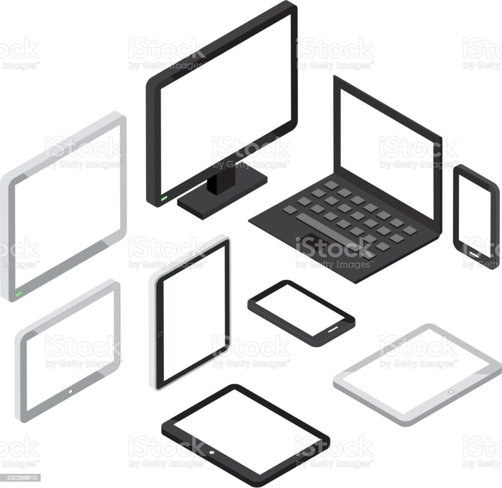 Isometric 3d computer and laptop, tablet pc smartphone vector icons vector art illustration