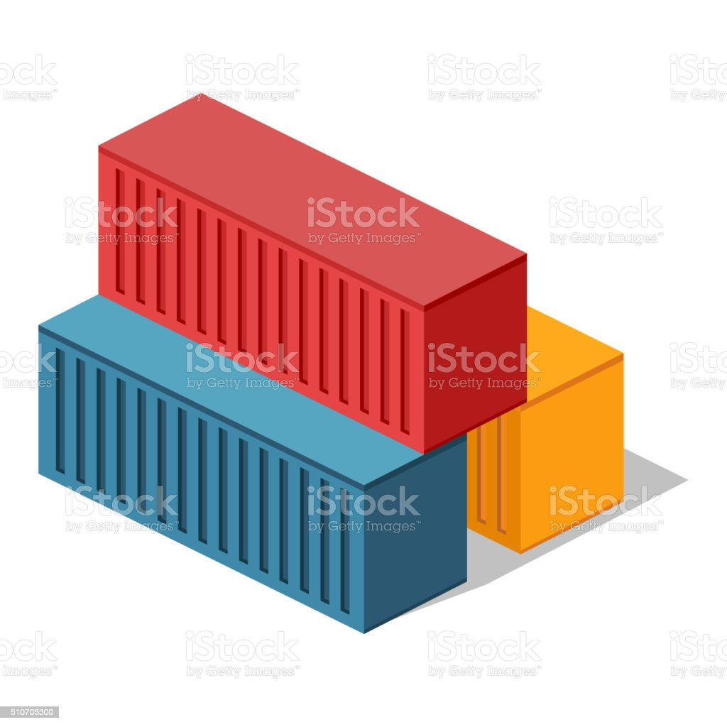 Isometric 3d Container Delivery vector art illustration