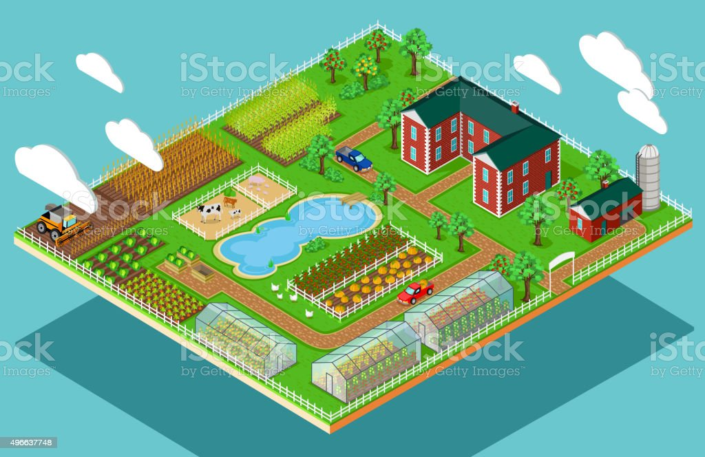 Isometric 3d Icon Flat Farm Agriculture vector art illustration