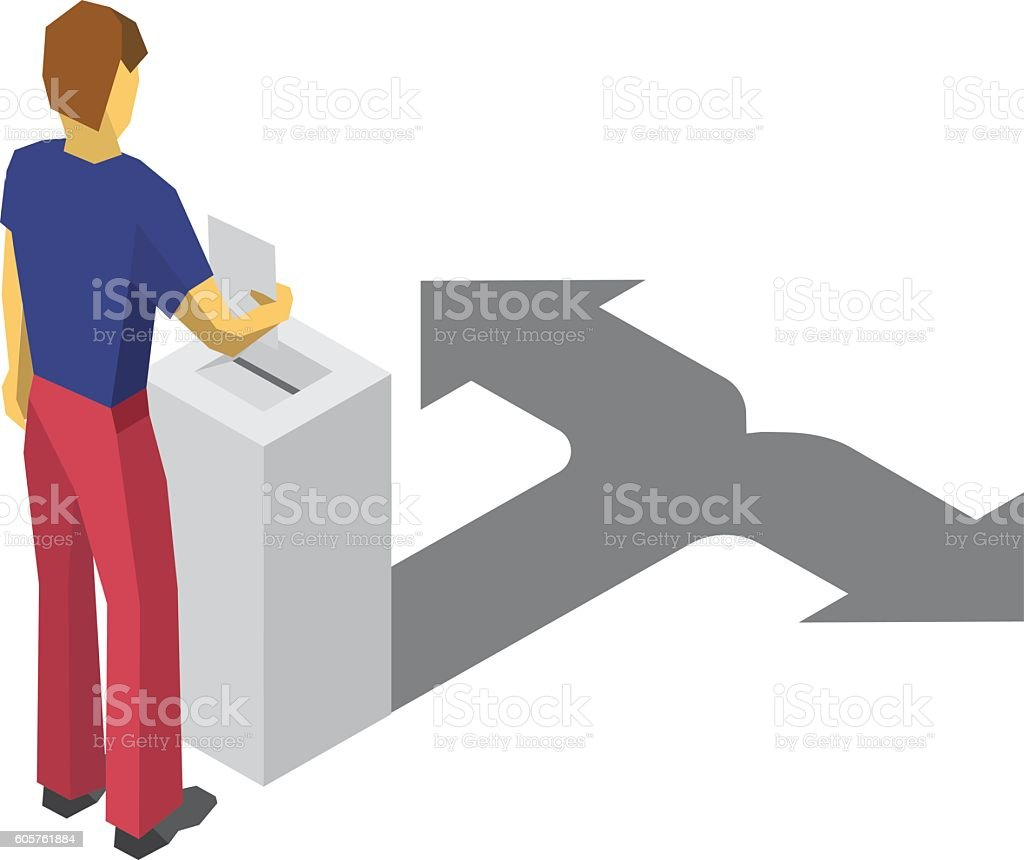 Isometric 3D man put paper in election box. Choice concept. vector art illustration