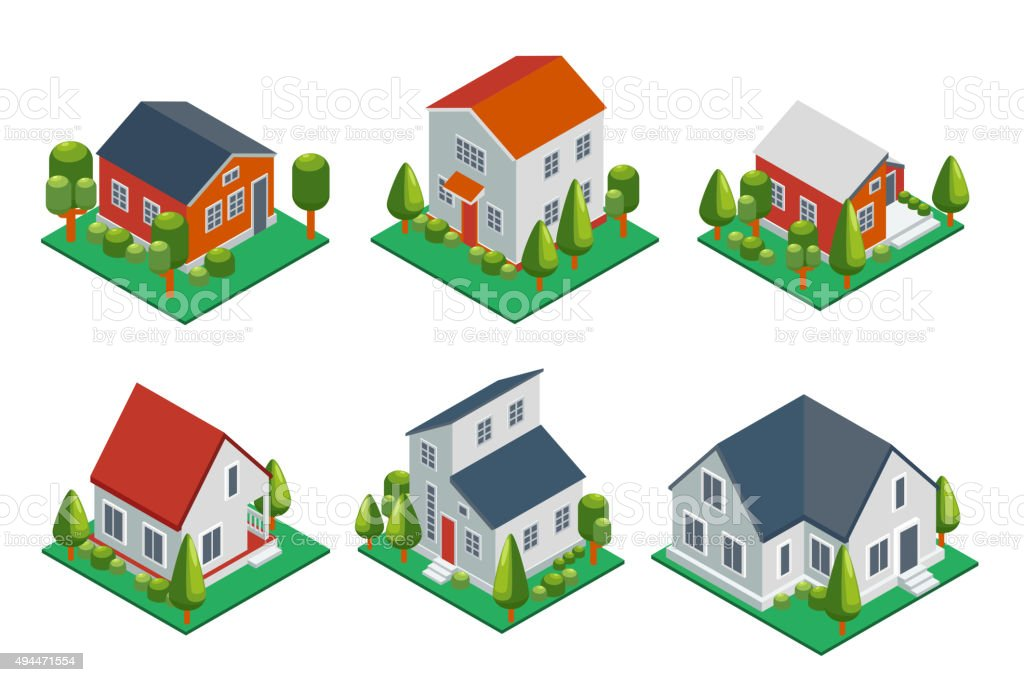 Isometric 3d private house, rural buildings and cottages icons set vector art illustration