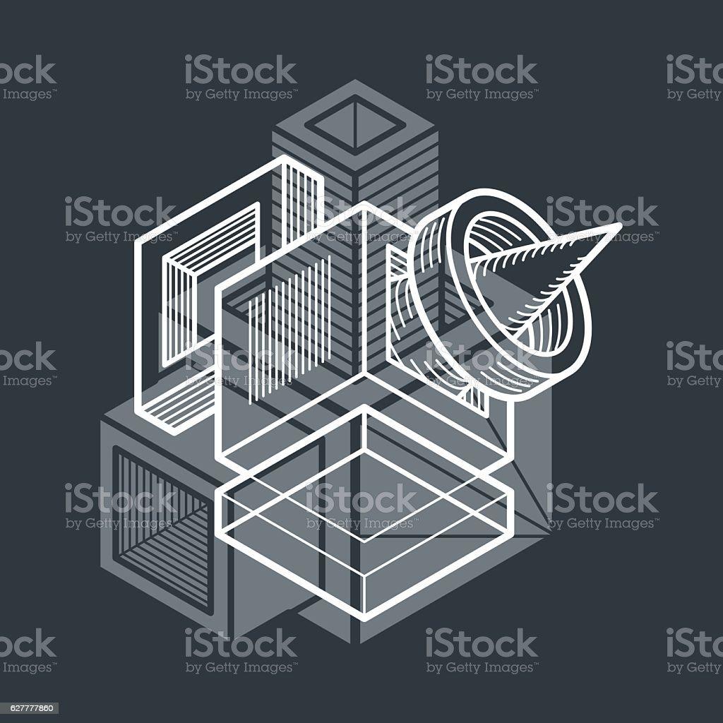 Isometric abstract vector dimensional shape, polygonal figure vector art illustration