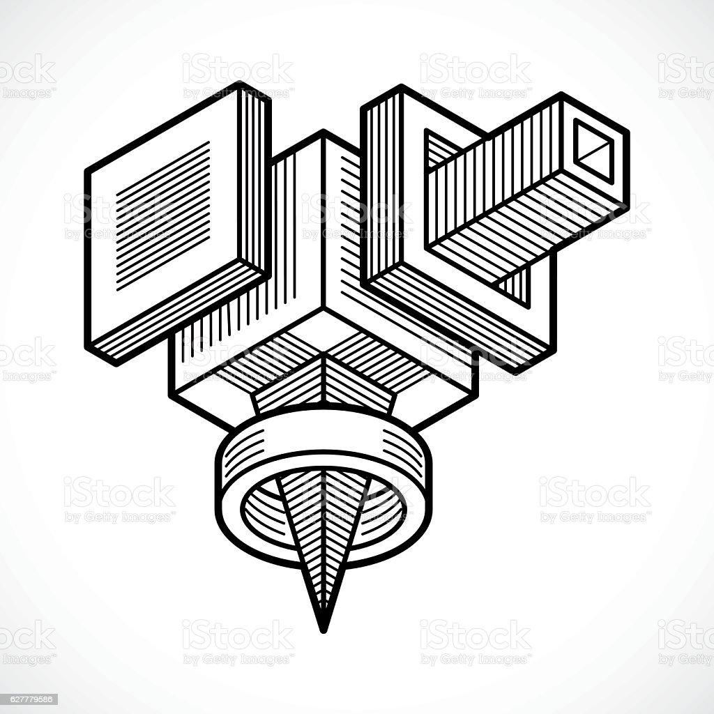 Isometric abstract vector shape vector art illustration