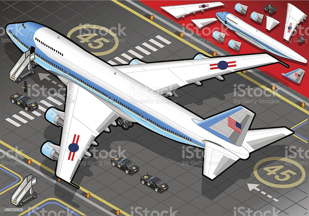 Isometric Air Force One in Rear View royalty-free stock vector art