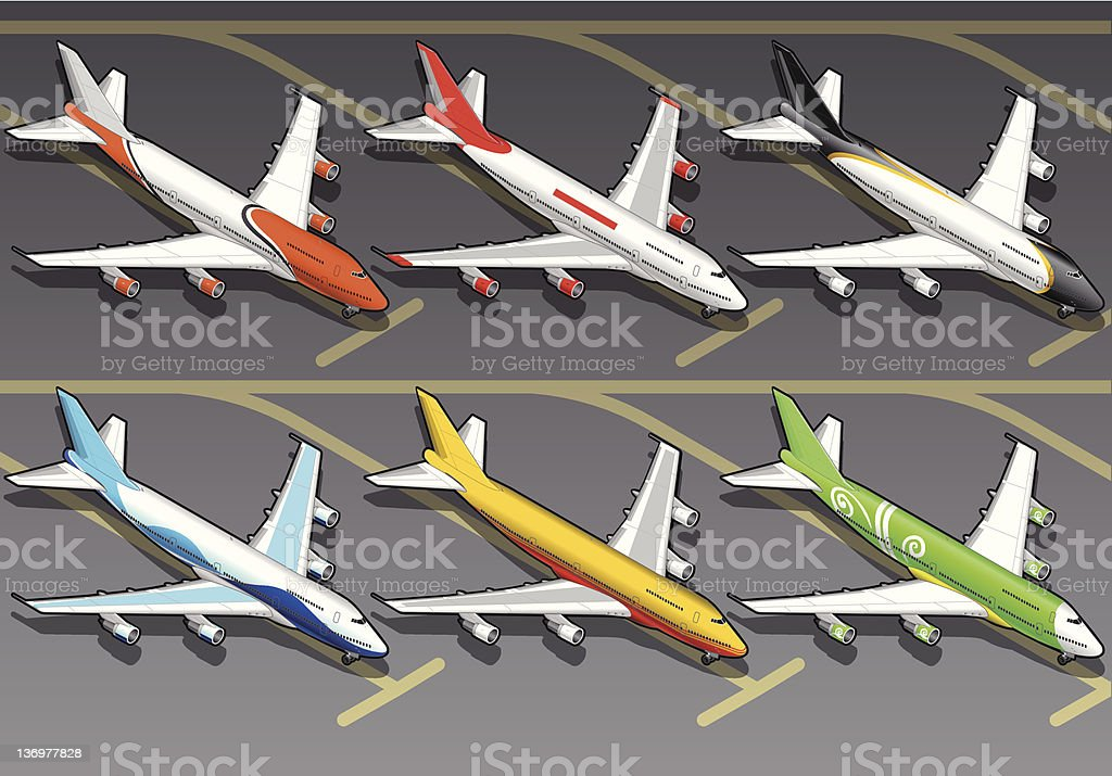 Isometric airplanes in six livery royalty-free stock vector art