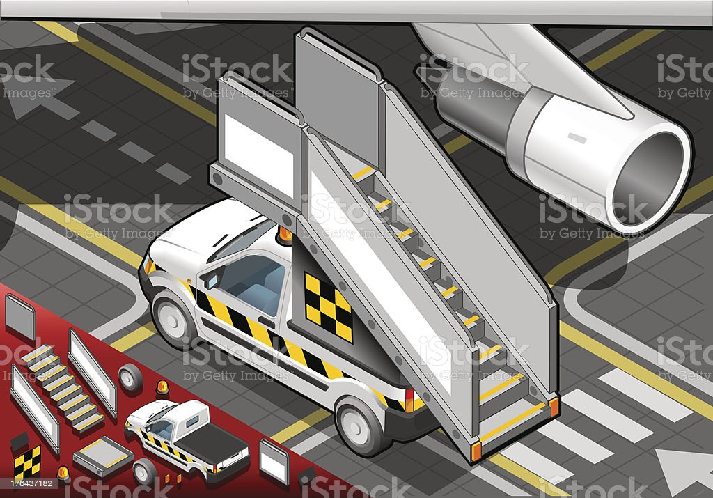 Isometric Airport Boarding Stair Car in Rear View royalty-free stock vector art