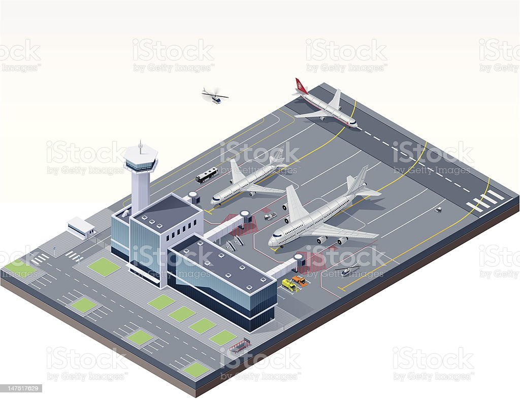 Isometric airport vector art illustration