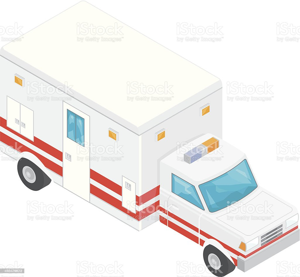 Isometric Ambulance vector art illustration