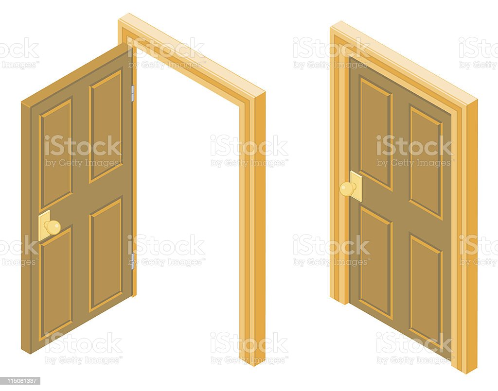 Isometric and wooden door illustration royalty-free stock vector art