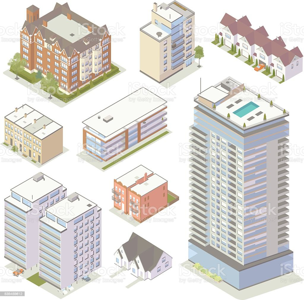 Isometric Apartment Buildings vector art illustration