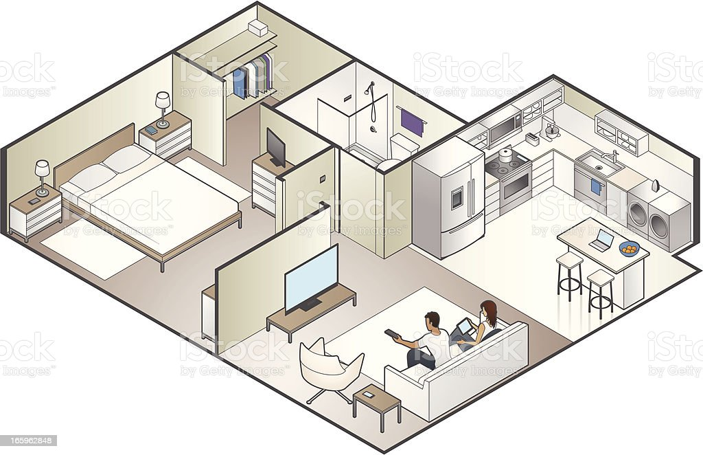 Isometric Apartment Cutaway royalty-free stock vector art