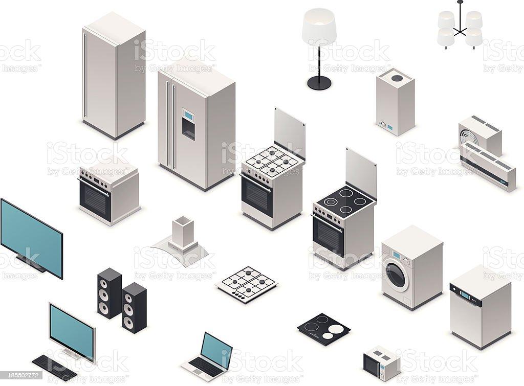 Isometric appliances vector art illustration