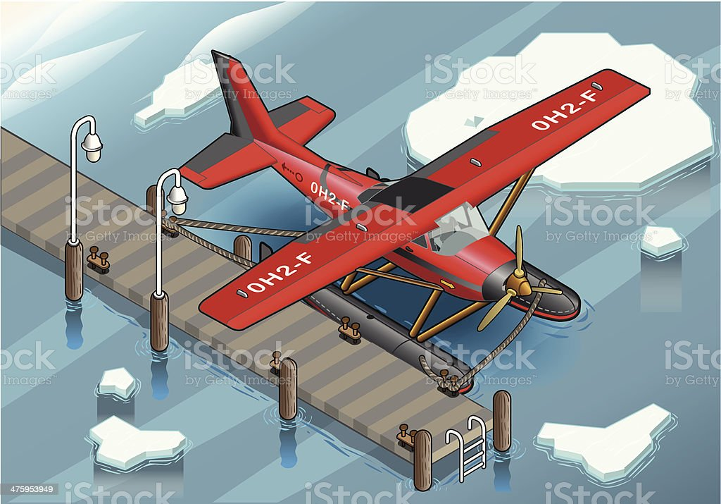 Isometric Artic Hydroplane at Pier vector art illustration