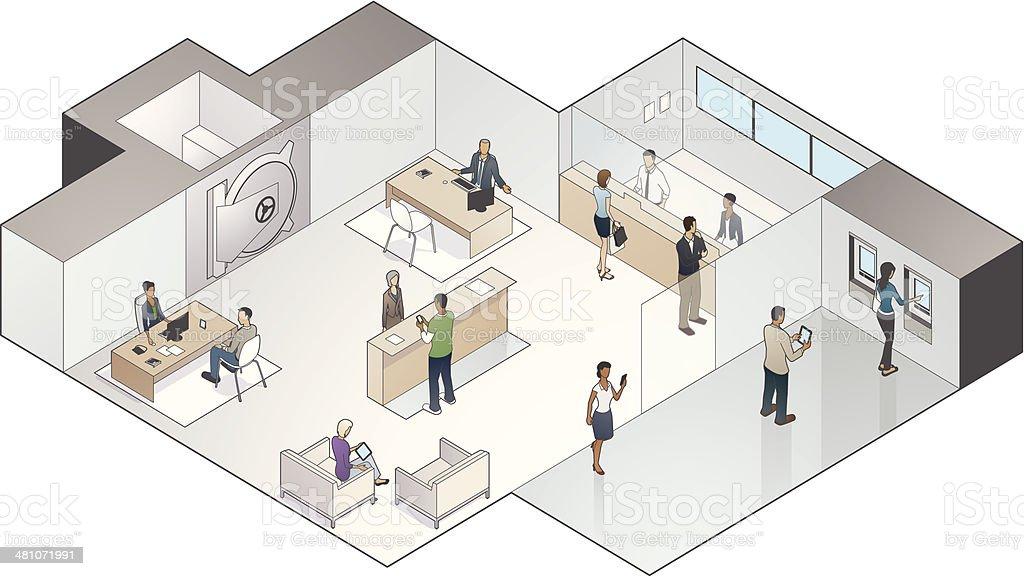 Isometric Bank Branch Illustration vector art illustration