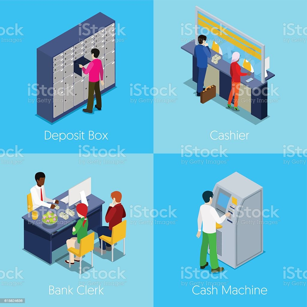 Isometric Bank Services Concept. Deposit Box, Cashier, Cash Machine vector art illustration